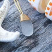 Sea Glass Necklace: White 14k Gold Fill #23