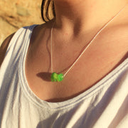 Sea Glass Necklace: Green Bar Sterling Silver