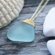 Sea Glass Necklace: Seafoam Gold Filled