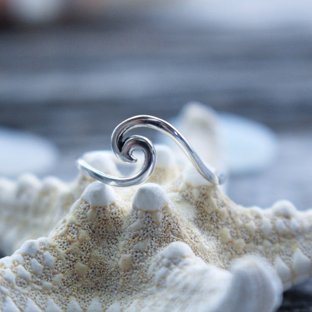 Sea Candy Ring: Dainty Crashing Waves Sterling Silver