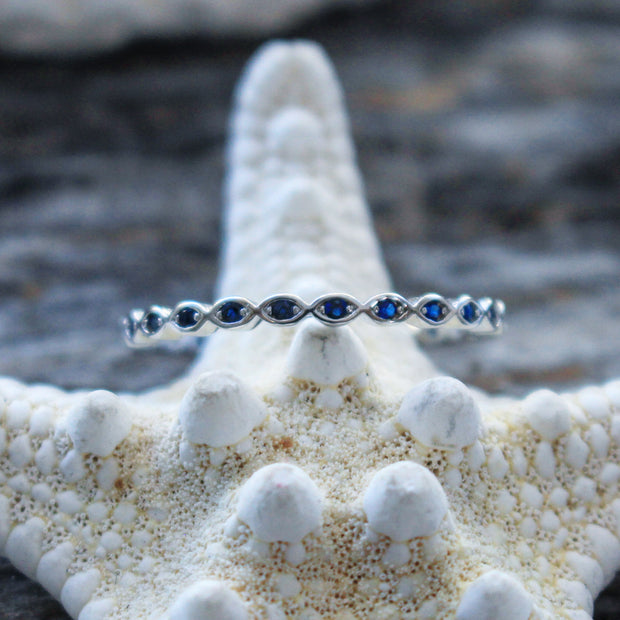 Sea Candy Ring: Blue Gem Eternity Sterling Silver