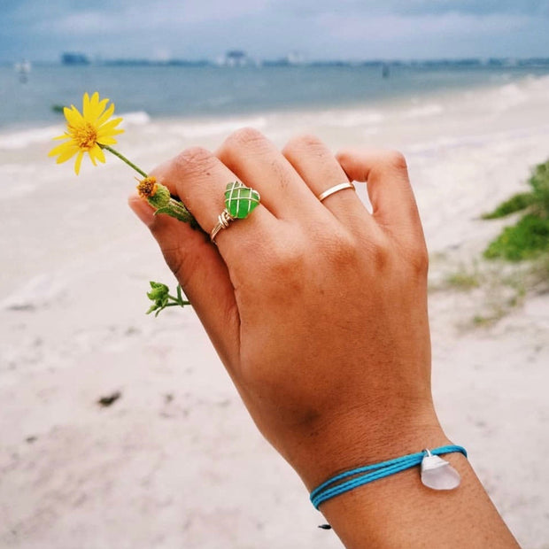 Sea Glass Ring: Green Gold Filled