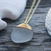 Sea Glass Necklace: White 14k Gold Fill #17