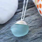 Sea Glass Necklace: Seafoam Sterling Silver #8