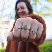 Sea Glass Ring: White Gold Filled