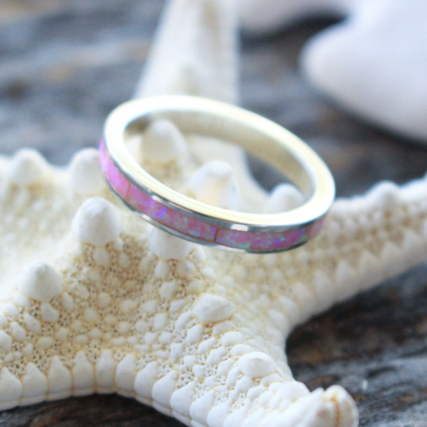 Sea Candy Ring: Pink Opal Band Sterling Silver