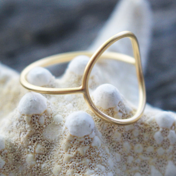 Sea Candy Ring: Dainty Open Oval 24k Gold Plated