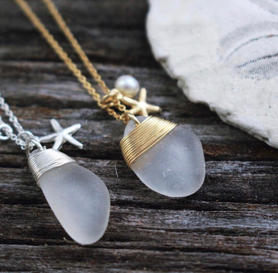 Sea Glass Necklace: White Charm Sterling Silver