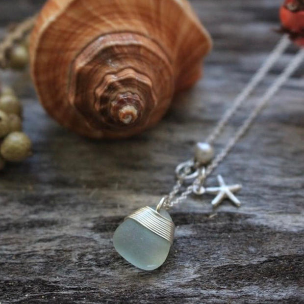 Sea Glass Necklace: Seafoam Charm Sterling Silver
