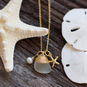 Sea Glass Necklace: White Charm Gold Filled