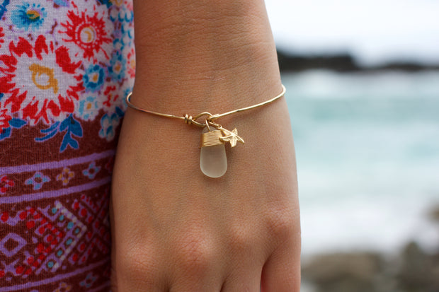 Sea Glass Necklace: White Bangle Gold Filled