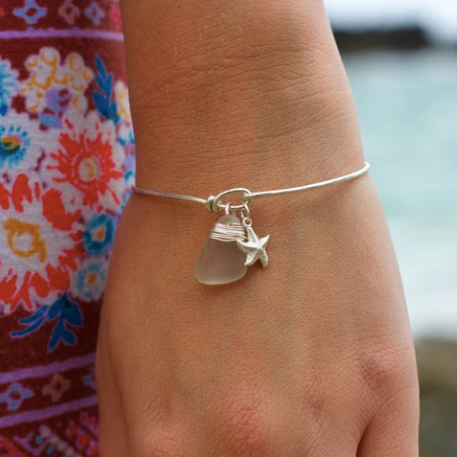 Sea Glass Necklace: White Bangle Sterling Silver