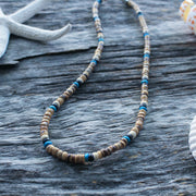 Coconut Bead Surfer Necklace: Sterling Silver