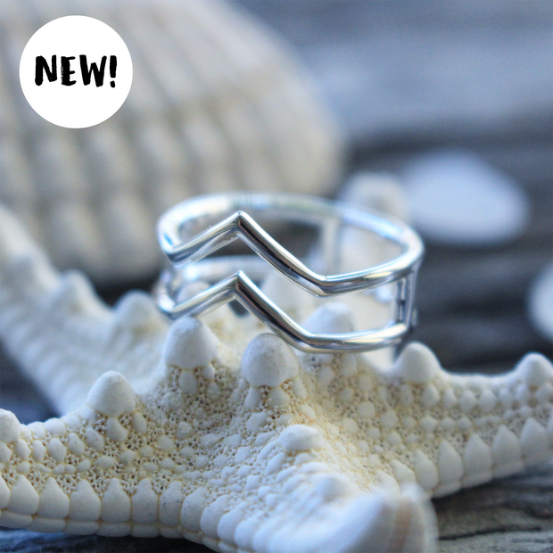 Sea Candy Ring: Double Chevron Sterling Silver
