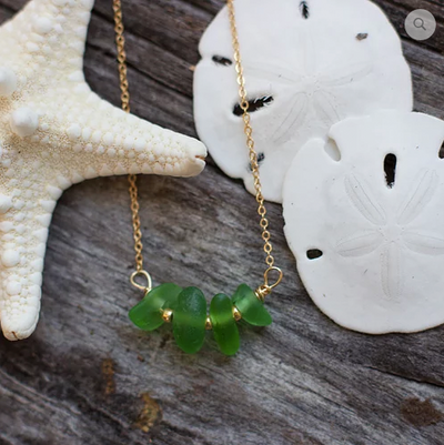 Sea Glass Necklace: Green Bar Gold Filled