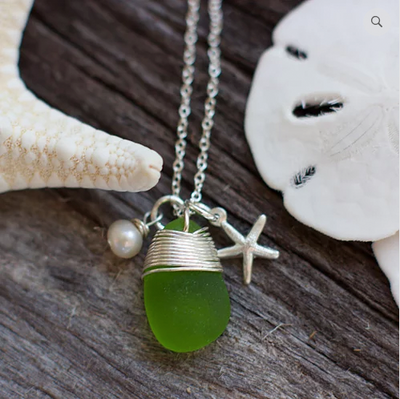 Sea Glass Necklace: Green Charm Sterling Silver