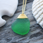 Sea Glass Necklace: Green Gold Filled