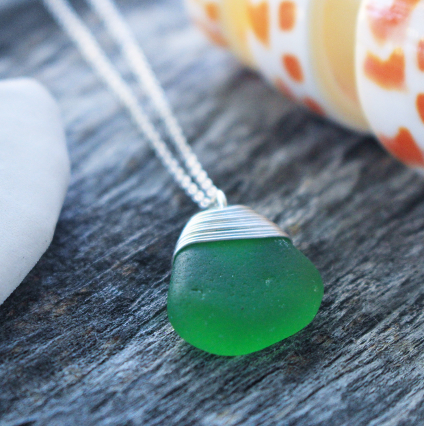 Sea Glass Necklace: Green Sterling Silver