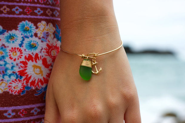 Sea Glass Bracelet: Green Bangle Gold Filled
