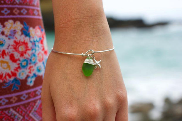 Sea Glass Bracelet: Green Bangle Sterling Silver