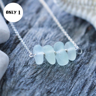 Sea Glass Necklace: Seafoam Sterling Silver Bar #5