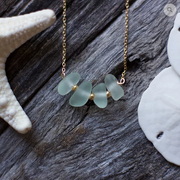 Sea Glass Necklace: Seafoam Bar Gold Filled