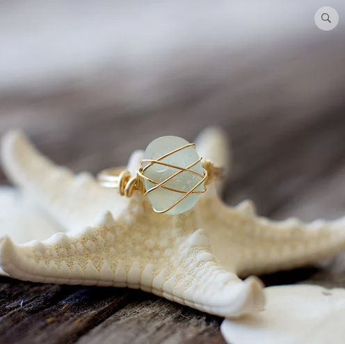 Sea Glass Ring: Seafoam Gold Filled