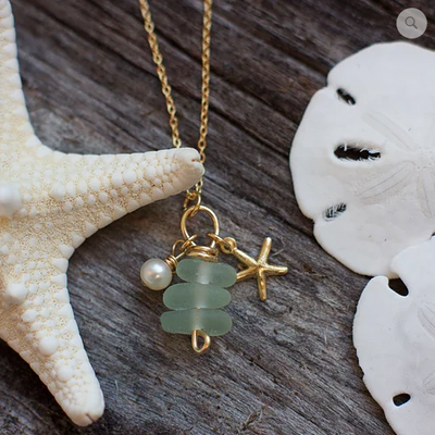 Sea Glass Necklace: Seafoam Stack Gold Filled