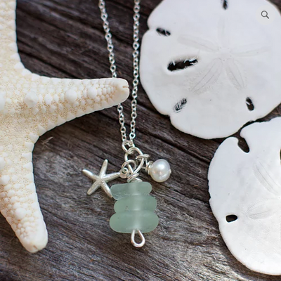 Sea Glass Necklace: Seafoam Stack Sterling Silver