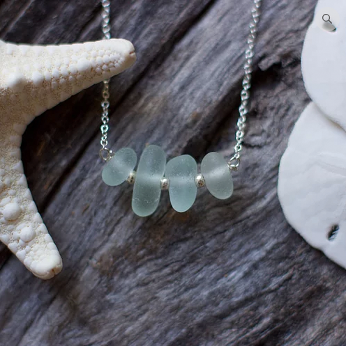 Sea Glass Necklace: Seafoam Bar Sterling Silver