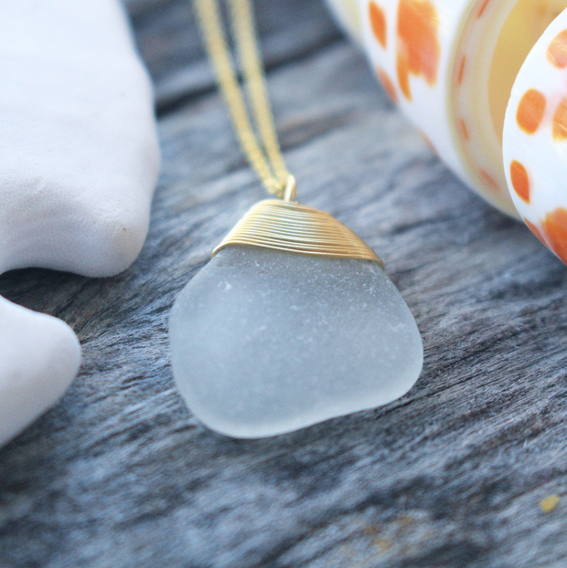 Sea Glass Necklace: White Gold Filled