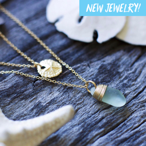 Sea Glass Necklace: Seafoam Layering Set Gold Filled