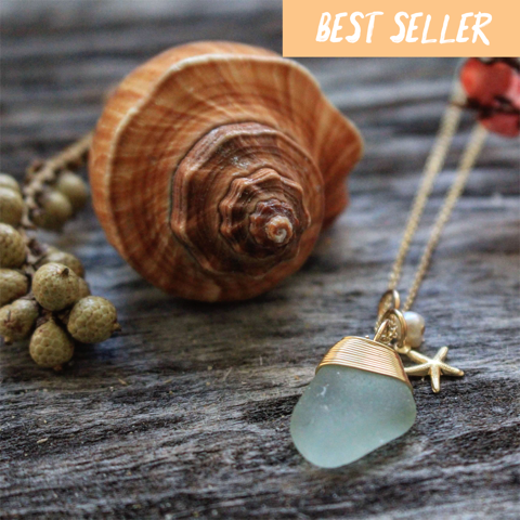 Sea Glass Necklace: Seafoam Charm Gold Filled