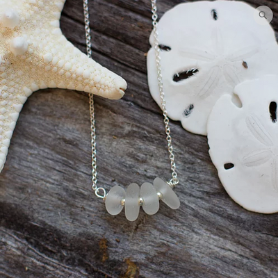 Sea Glass Necklace: White Bar Sterling Silver