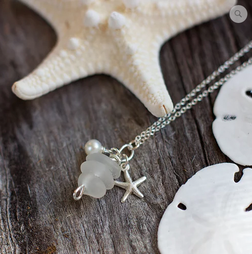 Sea Glass Necklace: White Stack Sterling Silver