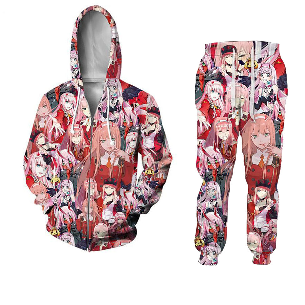 Anime Darling In The Franxx 2 Pieces Top Hoodie And Pants Shorts Suit –  SGoodGoods
