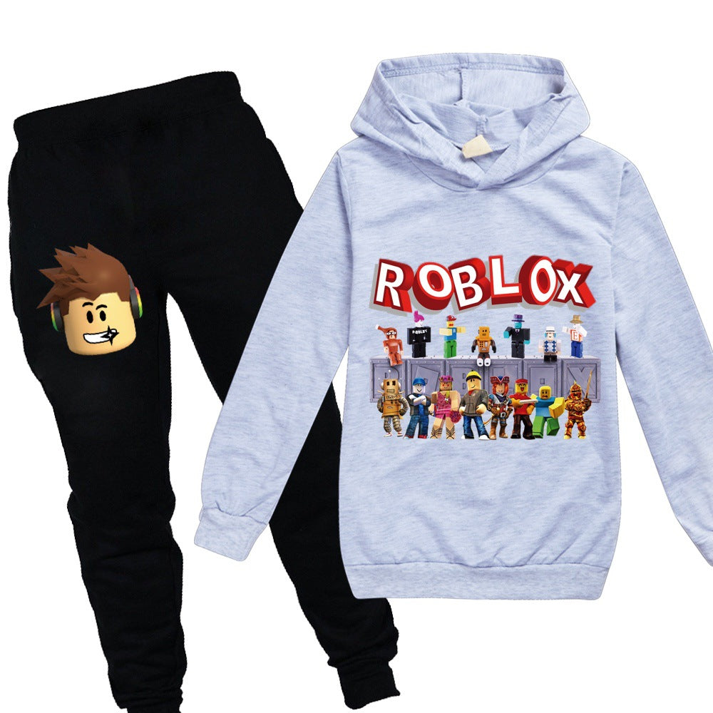 Youth Boys Girls R-OBLOX Pullover Hoodies and Sweatpants Suit for Kids 2 Piece Outfit Fashion Sweatshirt Set