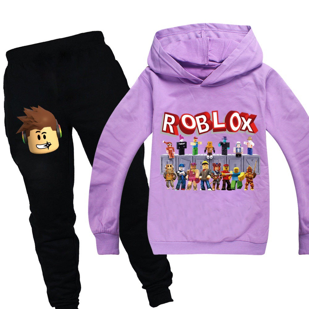 Youth Game Pullover Hoodie and Sweatpants Suit 2 Piece Outfit Fashion Sweatshirt Set for Boys Girls
