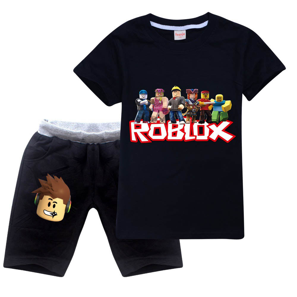 2019 Summer Boys T Shirts Roblox Gamer Cotton T Shirt Girls Roblox Kids 2 Pieces Sweatsuit Summer T Shirt And Shorts Cotton Suit Sgoodgoods
