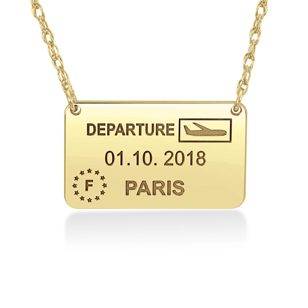 Bucket List Passport Stamp Necklace - Wanderlust 195