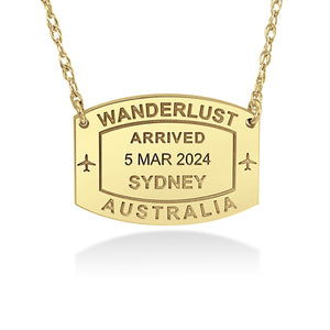 Wanderlust Passport Stamp Necklace - Wanderlust 195