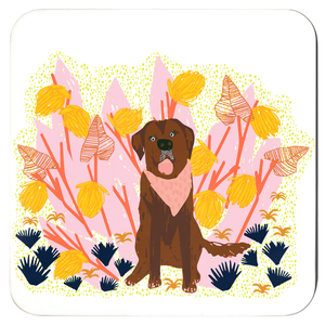 Tropical Dogs Coasters - Set of 4