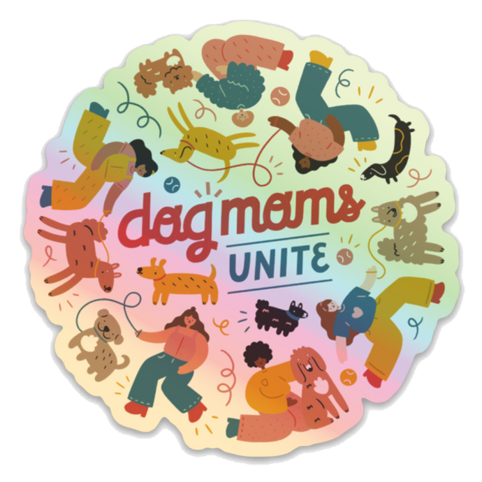 Hologram Dog Moms Unite Sticker