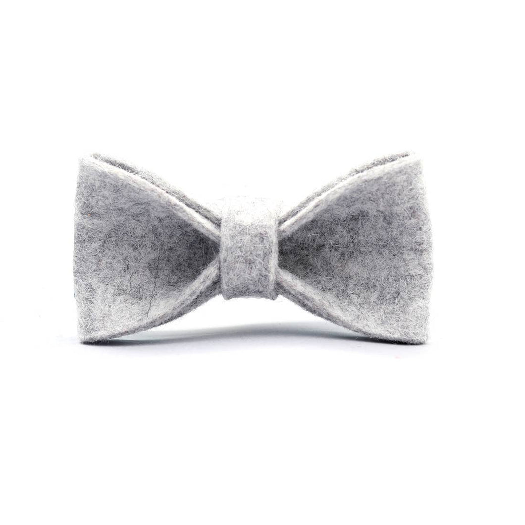 Grey Wool Felt dog Collar Bow Tie