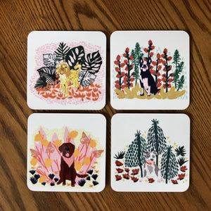 Jungle Dog Print Coasters Set of 4