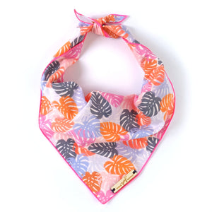 Pink lilac monstera leaf print dog bandana dog mom style