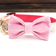 Pink Velvet Dog Collar Bow Tie