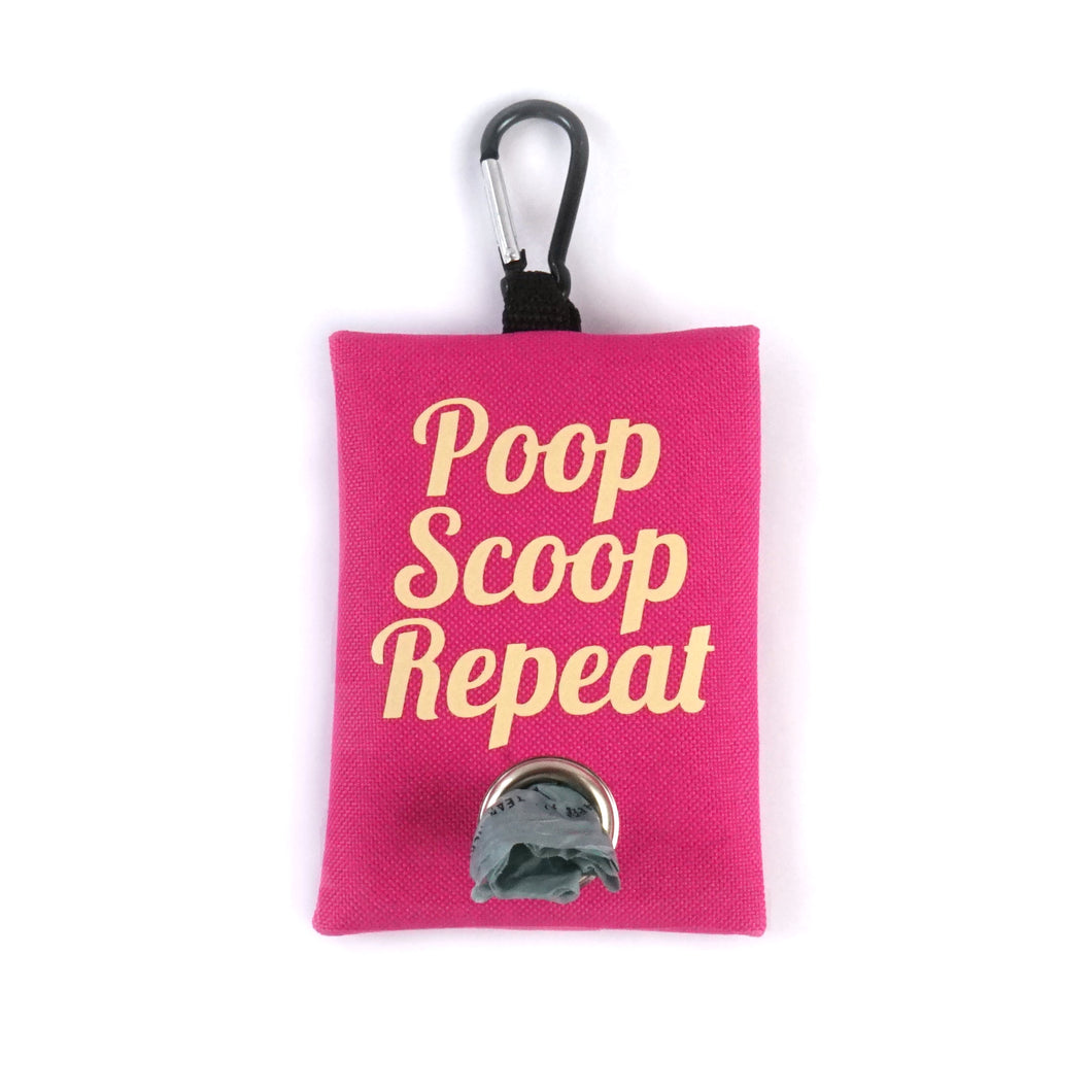 Pink poop scoop repeat dog waste bag holder