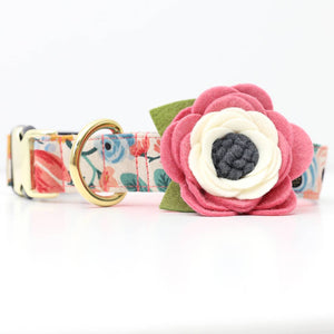 Wildflower felt dog collar corsage