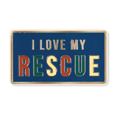 i love my rescue dog pin gift